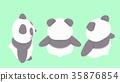 熊貓插圖素材背面對角線以上3種圖案 35876854