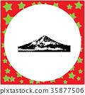 Mount Fuji Japan black 8-bit  vector  35877506