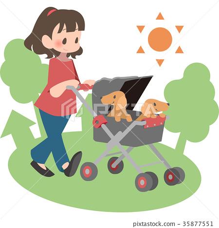 女人推著寵物車(室外) 35877551