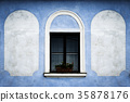 window on the blue old wall 35878176