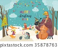 Happy animals celebrating Christmas 35878763