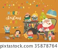 Cartoon Santa Claus with kids and gifts 35878764