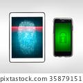 Fingerprint lock scanning tablet and smart phone. 35879151