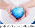 Female hands holding on earth global heart. 35879164