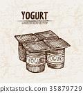 Digital vector detailed line art packed yogurt  35879729