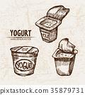 Digital vector detailed line art packed yogurt  35879731