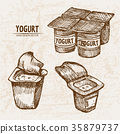 Digital vector detailed line art packed yogurt  35879737