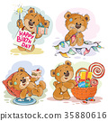 Set of clip art illustrations of brown teddy bear 35880616