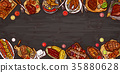 illustration, culinary banner, barbecue 35880628