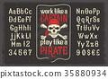 white vintage font, the Latin alphabet with retro 35880934
