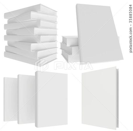 Set blank book isolated on white background 35885084