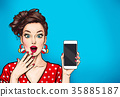 Woman with smartphone. Digital advertisement 35885187