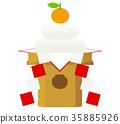 kagami rice cakes, round rice-cake, vector 35885926