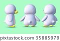 企鵝3D CG例證在3個樣式後的材料 35885979
