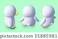 企鵝3D CG插圖材料對角線以上3個模式 35885981