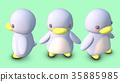 企鵝3D CG插圖材料正面對角線3個以上的圖案 35885985