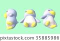 企鵝3D CG插圖材料3模式從下面 35885986