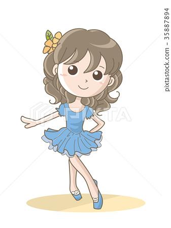 발레 포즈 여자 블루 35887894