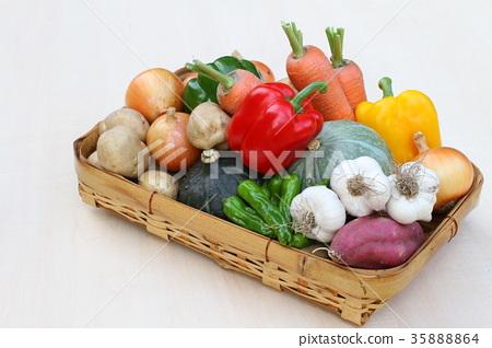 被分類的籃子綠色和黃色菜,菜聚集 35888864