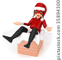 3D Woman christmas superhero stuck in a chimney 35894300
