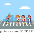 Kids Crossing Road in City Cartoon Illustration 35895531