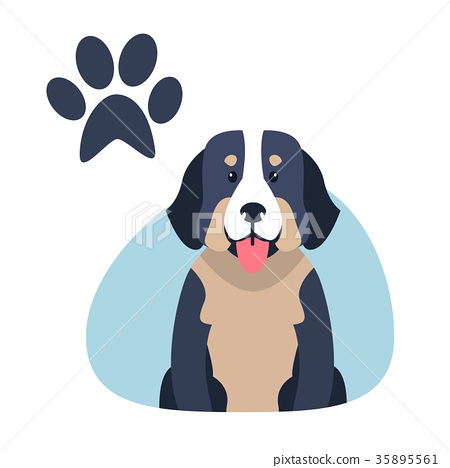 Heavy Bernese Mountain Dog Paw Print Flat Design 35895561