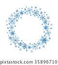 watercolor, wreath, snow 35896710