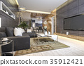 luxury and modern living room and dining room 35912421