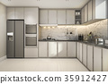 beautiful modern kitchen with marble decor 35912427