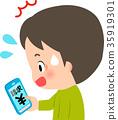 驚訝的男人在他們的智能手機上看收費 35919301