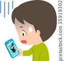 一個男人在智能手機上看到賬單時變成藍色 35919302