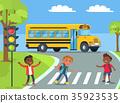 Boys Standing on Pedestrian Crossing Illustration 35923535