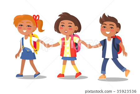 Set of Schoolchildren First Year Pupil with Bags 35923536