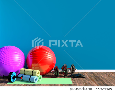 Gym equipment for fitness exercise with copy space 35924489