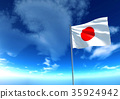 Flag of Japan under blue sky, 3D rendering 35924942