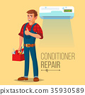 Professional Air Conditioner Repair Vector. Man 35930589