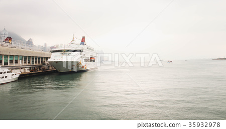 Editorial - Close up of Big White Yacht on the sea 35932978