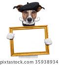painter artist frame holding dog 35938934