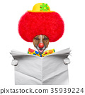 clown dog with red wig and hat 35939224