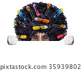 hairdresser   dog with curlers 35939802