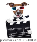 movie clapper board 3d glasses dog 35940034