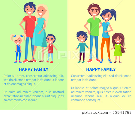 Happy Family Poster with Parents and Two Children 35941765
