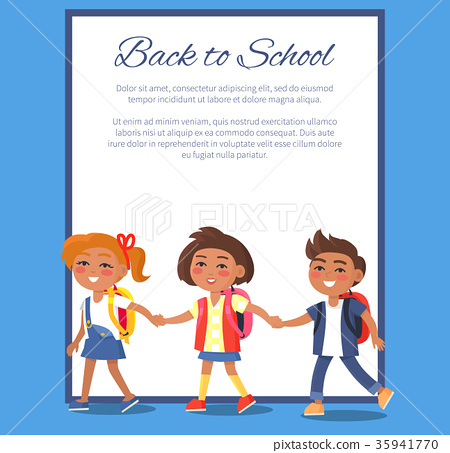 Back to School Poster with Children in Clothes 35941770
