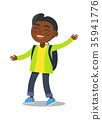 Smiling Kid in Green Jacket Jeans with Rucksack 35941776