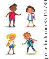 Cheerful School Children Isolated Illustrations 35941780