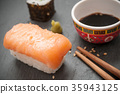 sushi and chopsticks on chalkboard background 35943125
