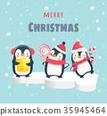 christmas, penguin, vector 35945464