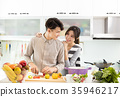 happy asian Couple cooking in the kitchen 35946217