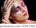 beautiful woman with bright makeup with glitter 35953482