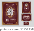 Vintage luxurious wedding invitation  35956150